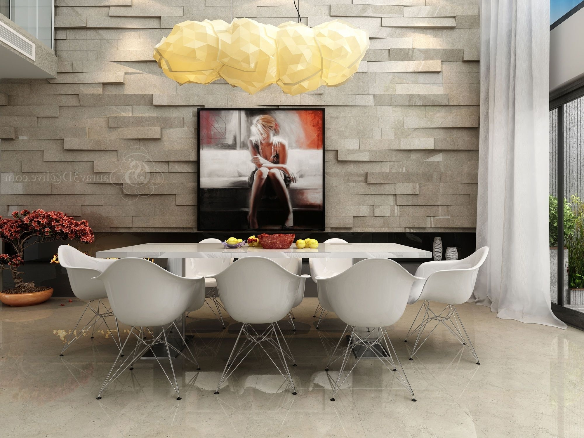 The Splendid Modern White Dining Suite Has Extruded Feature Walls Regarding Well Liked White Dining Suites (View 18 of 25)
