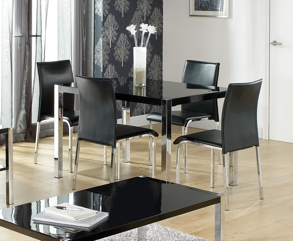Theo Black High Gloss Kitchen Table And Chairs With Newest Black High Gloss Dining Tables (View 13 of 25)
