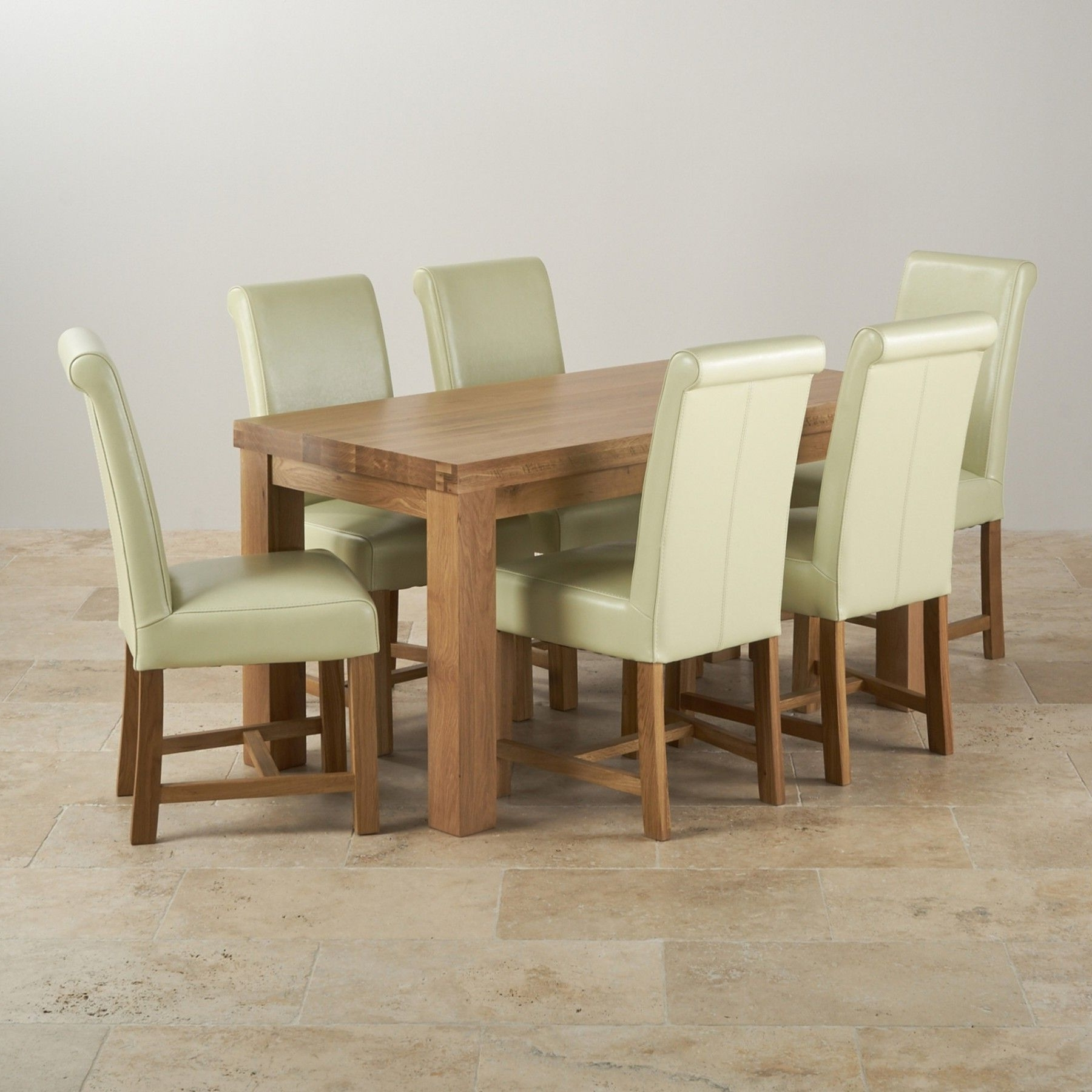 This Modern Dining Set Consists Of A Chunky 5Ft Dining Table And 6 With Regard To Most Popular Oak Dining Tables And Leather Chairs (View 24 of 25)