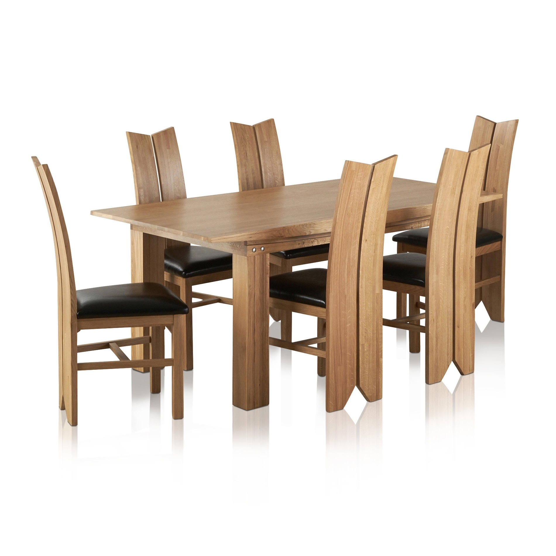 Tokyo Dining Set In Oak: Table + 6 Tulip Black Leather Chairs For Most Recently Released Tokyo Dining Tables (View 25 of 25)