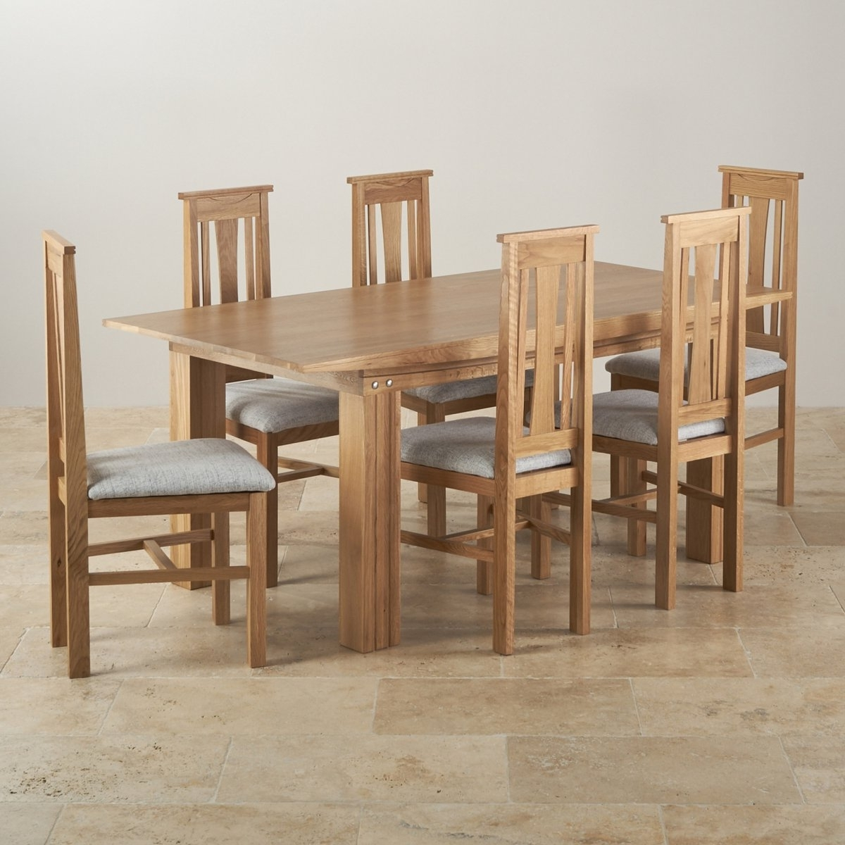 Tokyo Dining Tables Within Most Recent Tokyo Dining Set In Oak: 6Ft Dining Table 6 Grey Fabric, Dining (View 11 of 25)