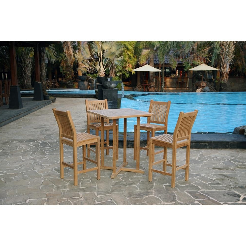 Tortuga Outdoor Jakarta 5 Piece Teak Outdoor Bar Height Dining Set Pertaining To Trendy Outdoor Tortuga Dining Tables (View 20 of 25)