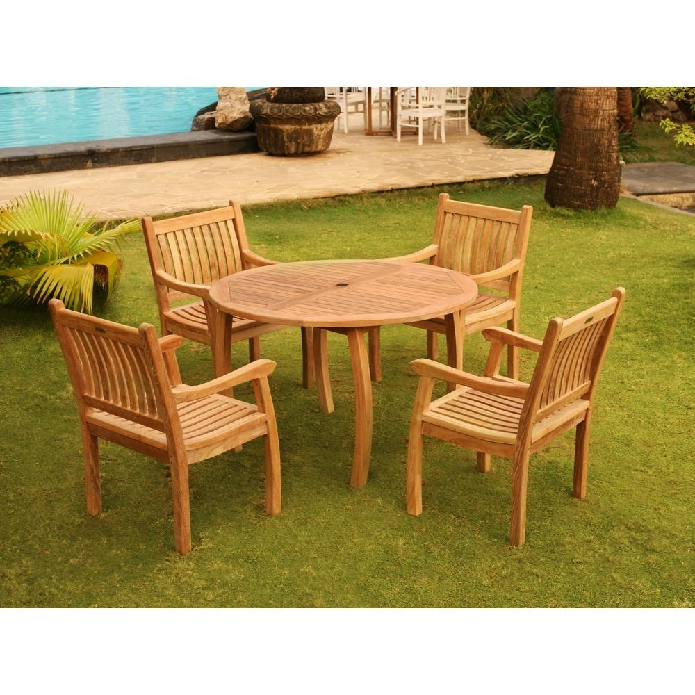 Tortuga Outdoor Jakarta 5 Piece Teak Outdoor Dining Set Tk 5Pc D Pertaining To 2018 Outdoor Tortuga Dining Tables (View 21 of 25)