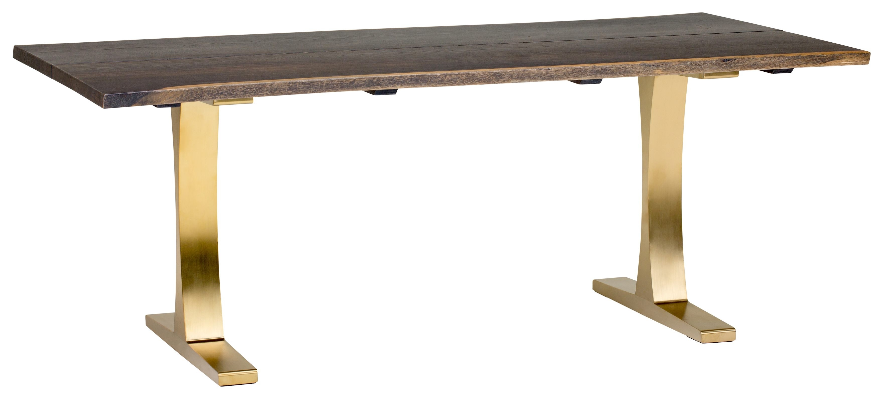Toulouse Boule 78 Inch Dining Table In Seared Oak And Brushed Gold Base Throughout Well Known Portland 78 Inch Dining Tables (View 23 of 25)