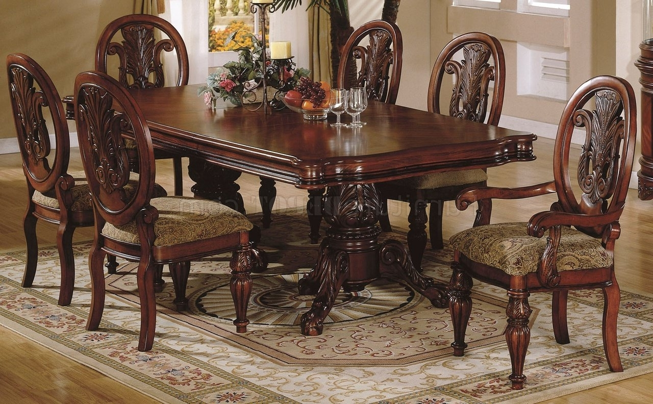 Traditional Dining Tables With Newest Cherry Finish Traditional Dining Room W/hand Carved Details (View 20 of 25)