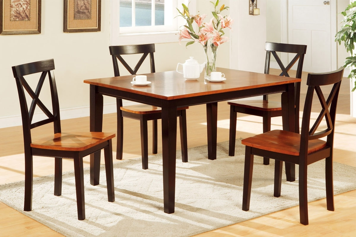 Trendy 5Pc Wood Dining Set F2232 – Furniture Mattress Los Angeles And El Monte Intended For Wooden Dining Sets (View 23 of 25)