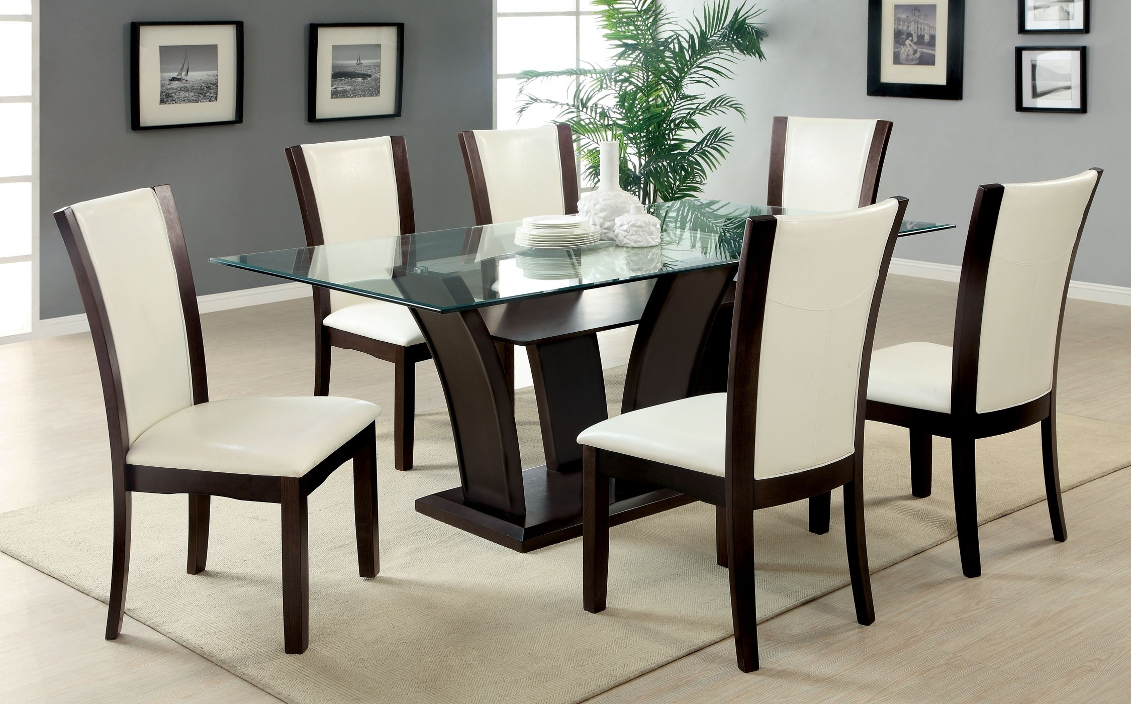 Trendy 6 Seater Glass Dining Table Sets • Table Setting Ideas Inside Cora 7 Piece Dining Sets (View 22 of 25)