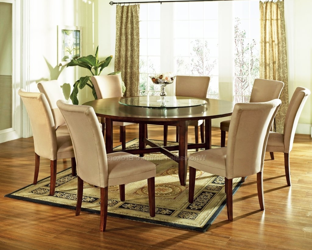 Trendy 9 Pc Avenue 72Quot; Round Dining Table Set With Lazy Susan By, Round With Valencia 72 Inch 6 Piece Dining Sets (View 16 of 25)