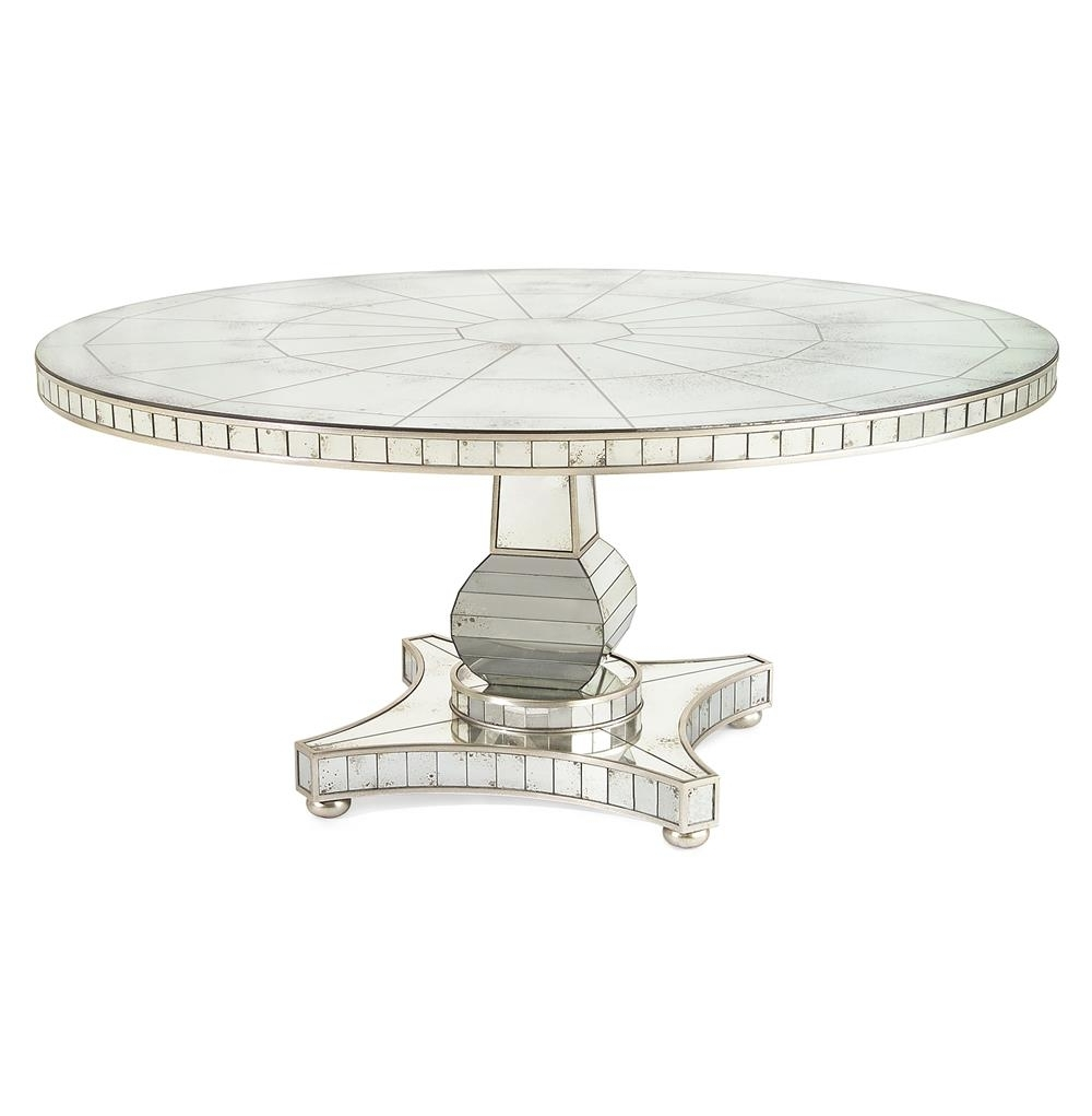 Trendy Antique Mirror Dining Tables In John Richard Millie Hollywood Regency Antique Mirror Silver Round (View 22 of 25)