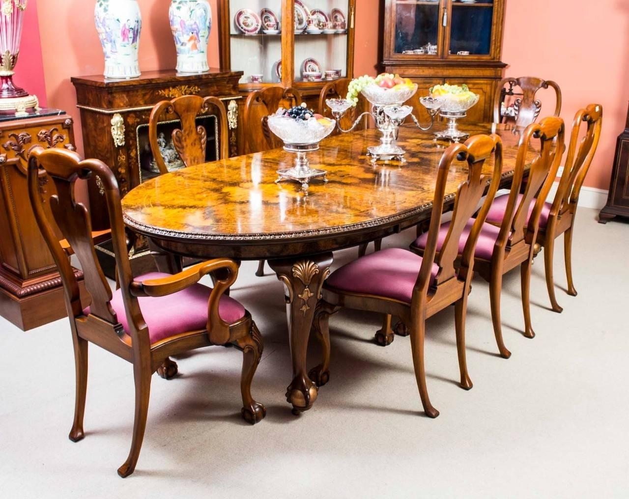 Trendy Antique Queen Anne Style Dining Table And Eight Chairs, Circa 1920 Pertaining To Dining Tables For Eight (View 22 of 25)