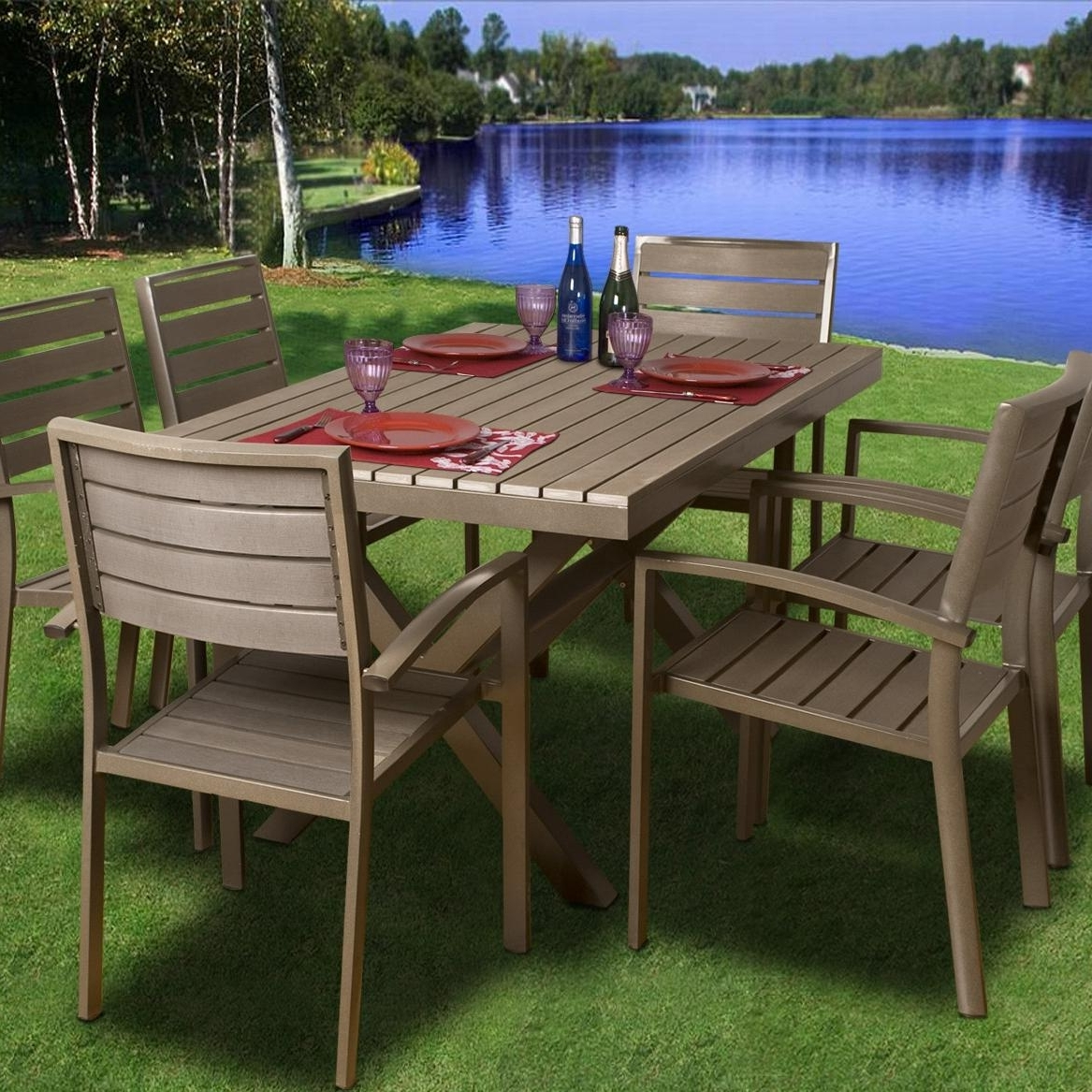 Trendy Atlantic Glasgow 6 Person Recycled Plastic Patio Dining Set With Within Glasgow Dining Sets (View 23 of 25)