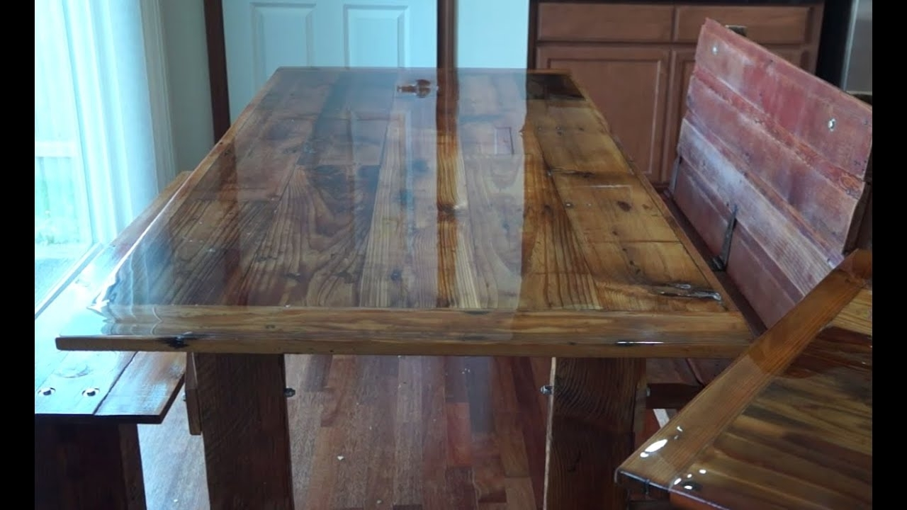 Trendy Barn House Dining Tables Pertaining To How To Build A Barn Wood Dining Table And Bench – Youtube (View 17 of 25)