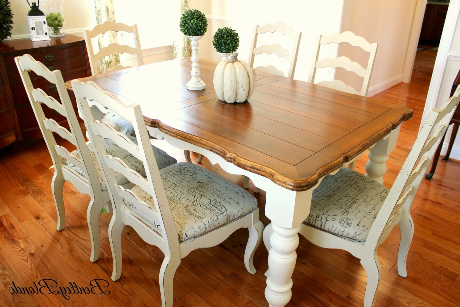 Trendy Bentleyblonde: Diy Farmhouse Table & Dining Set Makeover With Annie In Painted Dining Tables (View 5 of 25)