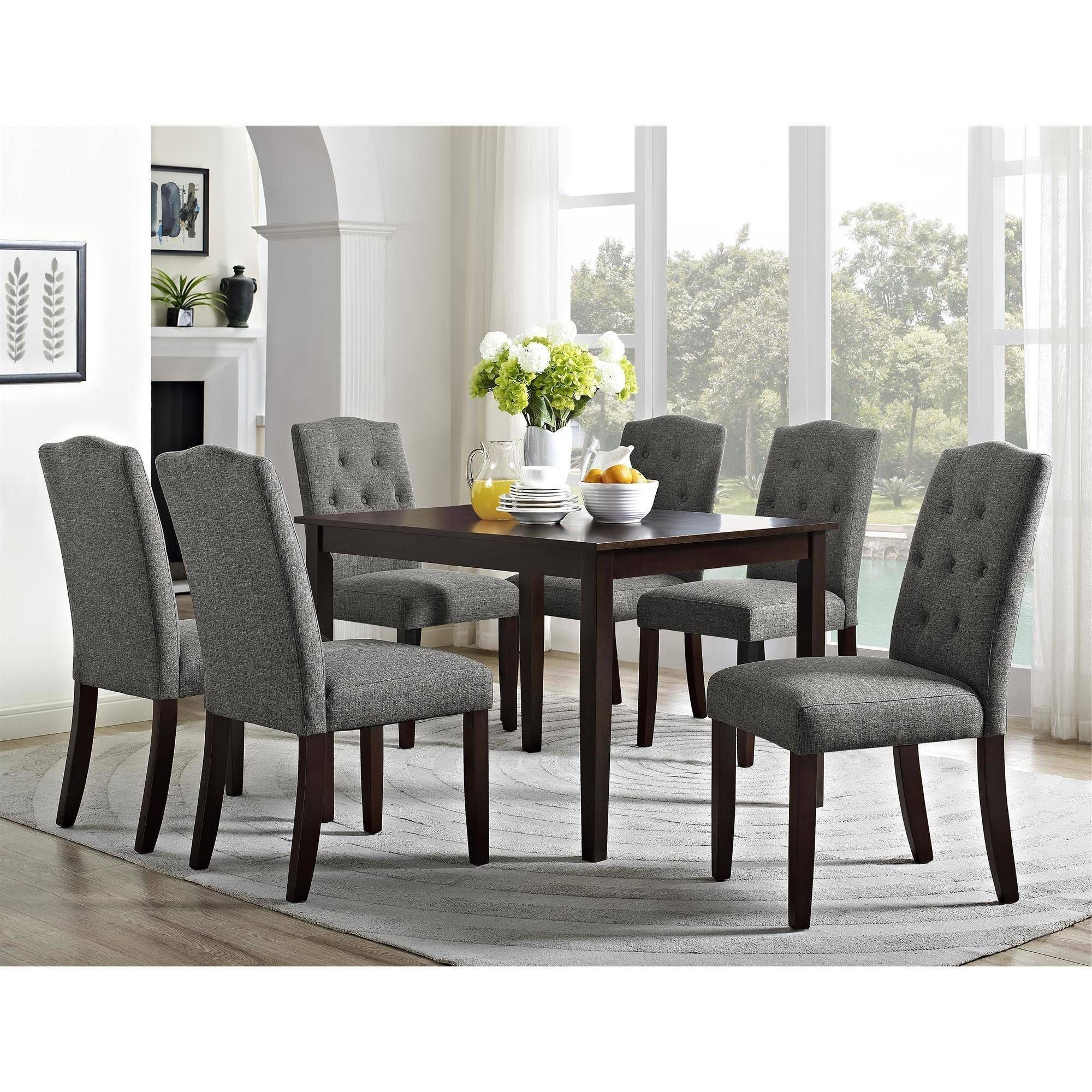 Trendy Better Homes And Gardens Parsons Tufted Dining Chair, Multiple Within Dining Tables With Grey Chairs (View 5 of 25)