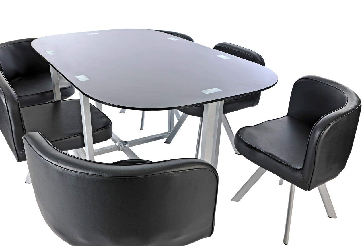 Trendy Black Glass Dining Room Table Set And With 6 Faux Leather Stowaway With Stowaway Dining Tables And Chairs (View 19 of 25)