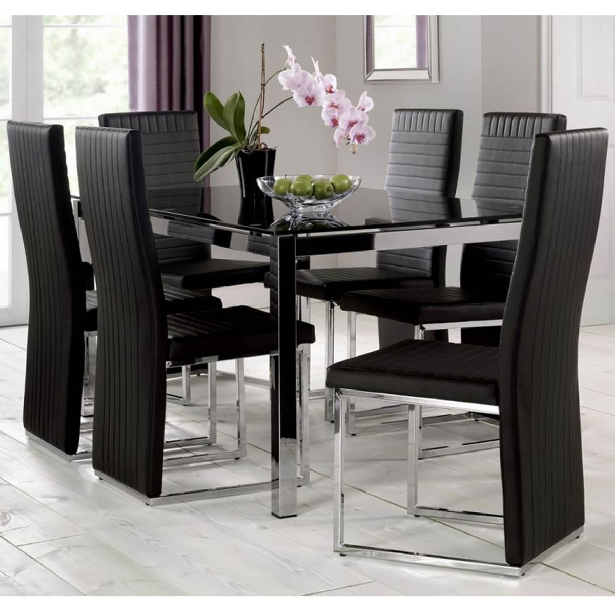 Trendy Black Glass Dining Tables And 4 Chairs Throughout Tempo Black Dining Table With Black Chairs (View 5 of 25)