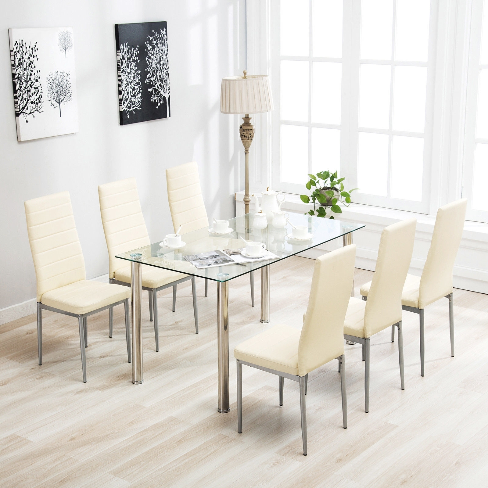 Trendy Black Glass Dining Tables And 6 Chairs Pertaining To 7 Piece Dining Table Set For 6 Chairs Clear Glass Metal Kitchen Room Breakfast • $1, (View 16 of 25)