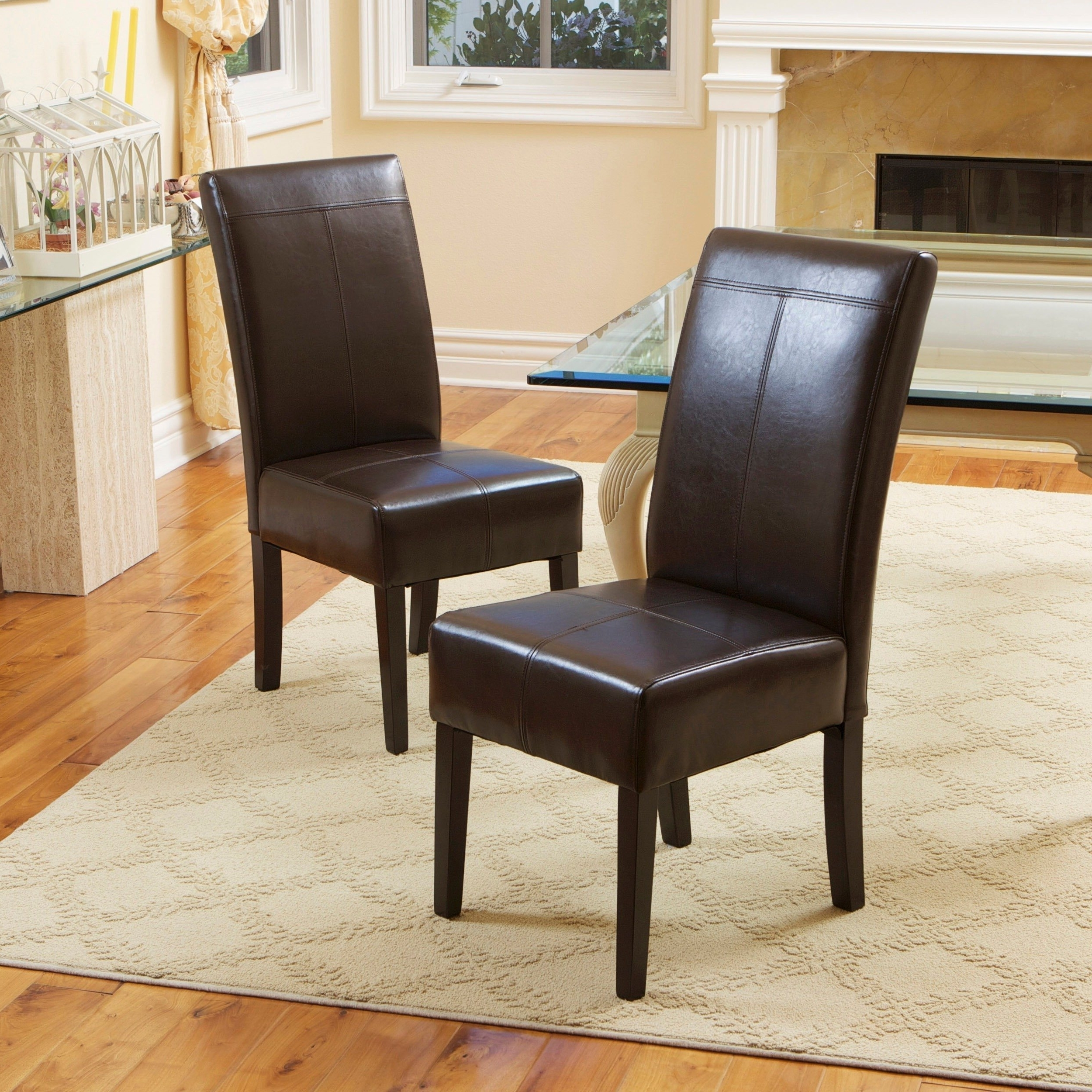Trendy Brown Leather Dining Chairs Throughout Shop T Stitch Chocolate Brown Leather Dining Chairs (Set Of 2) (View 12 of 25)