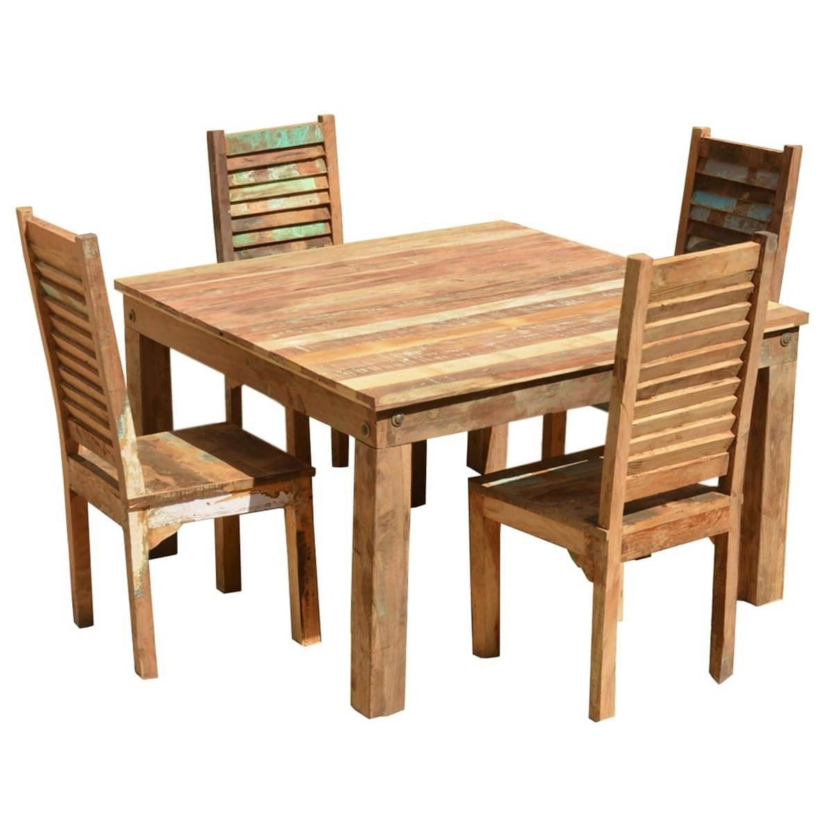 Trendy Cheap Reclaimed Wood Dining Tables For Ohio Reclaimed Wood Furniture Dining Table & Shutter Back Chairs Set (View 19 of 25)