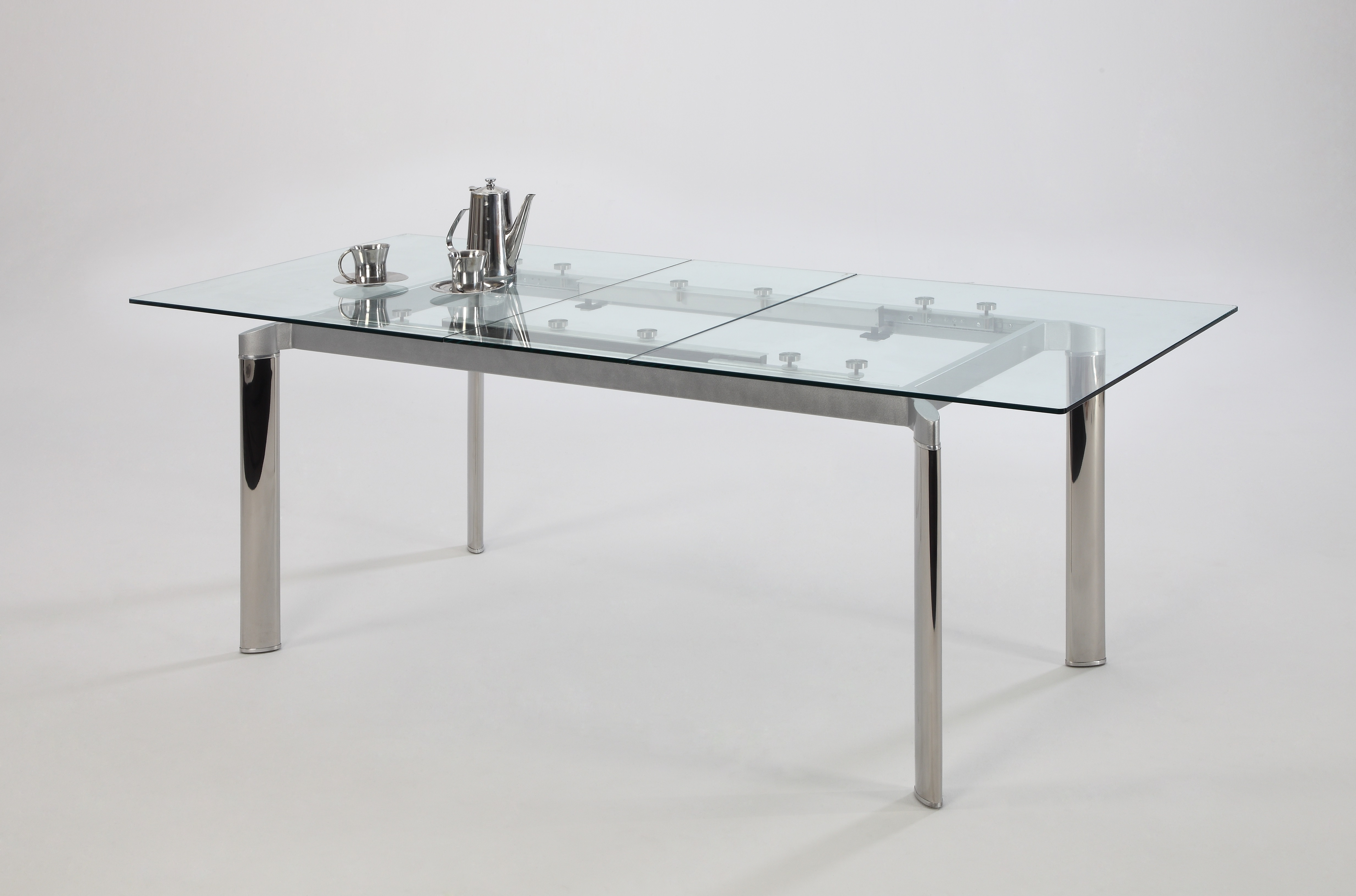 Trendy Contemporary Clear Glass And Chrome Extendable Dining Table Los Intended For Chrome Glass Dining Tables (View 4 of 25)