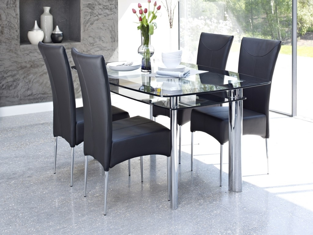 Trendy Contemporary Glass Dining Table Design Come With 2 Tier To Storage Inside Glass Dining Tables And Leather Chairs (View 22 of 25)