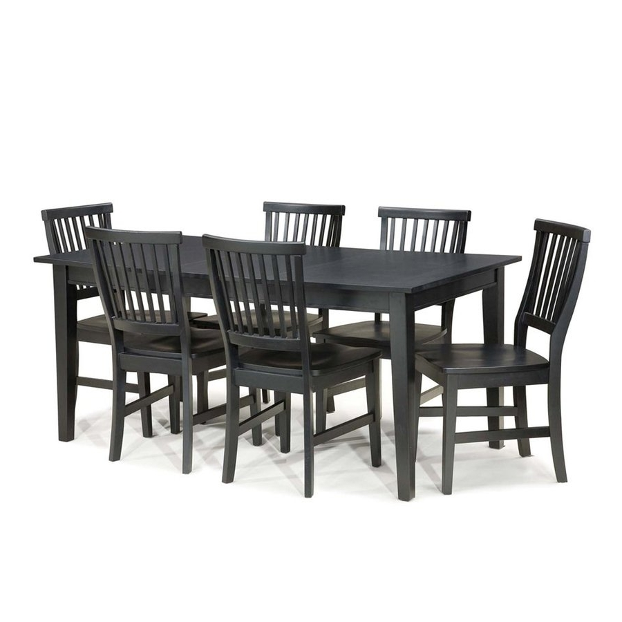 Trendy Craftsman 7 Piece Rectangle Extension Dining Sets With Uph Side Chairs Throughout Shop Home Styles Arts & Crafts Ebony 7 Piece Dining Set With Dining (View 14 of 25)