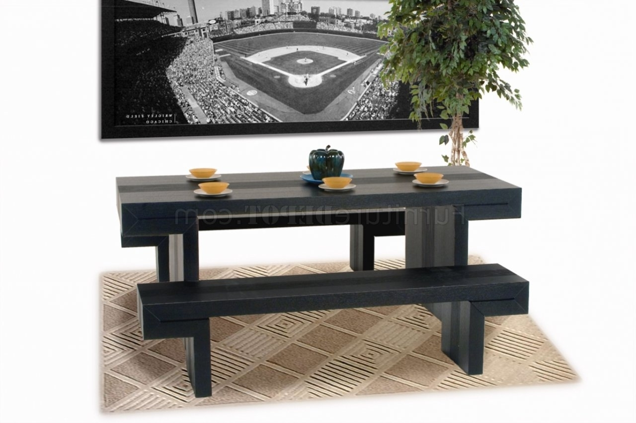 Trendy Dark Walnut Moden Dining Table & Two Benches 3Pc Set Intended For Small Dining Tables And Bench Sets (View 24 of 25)
