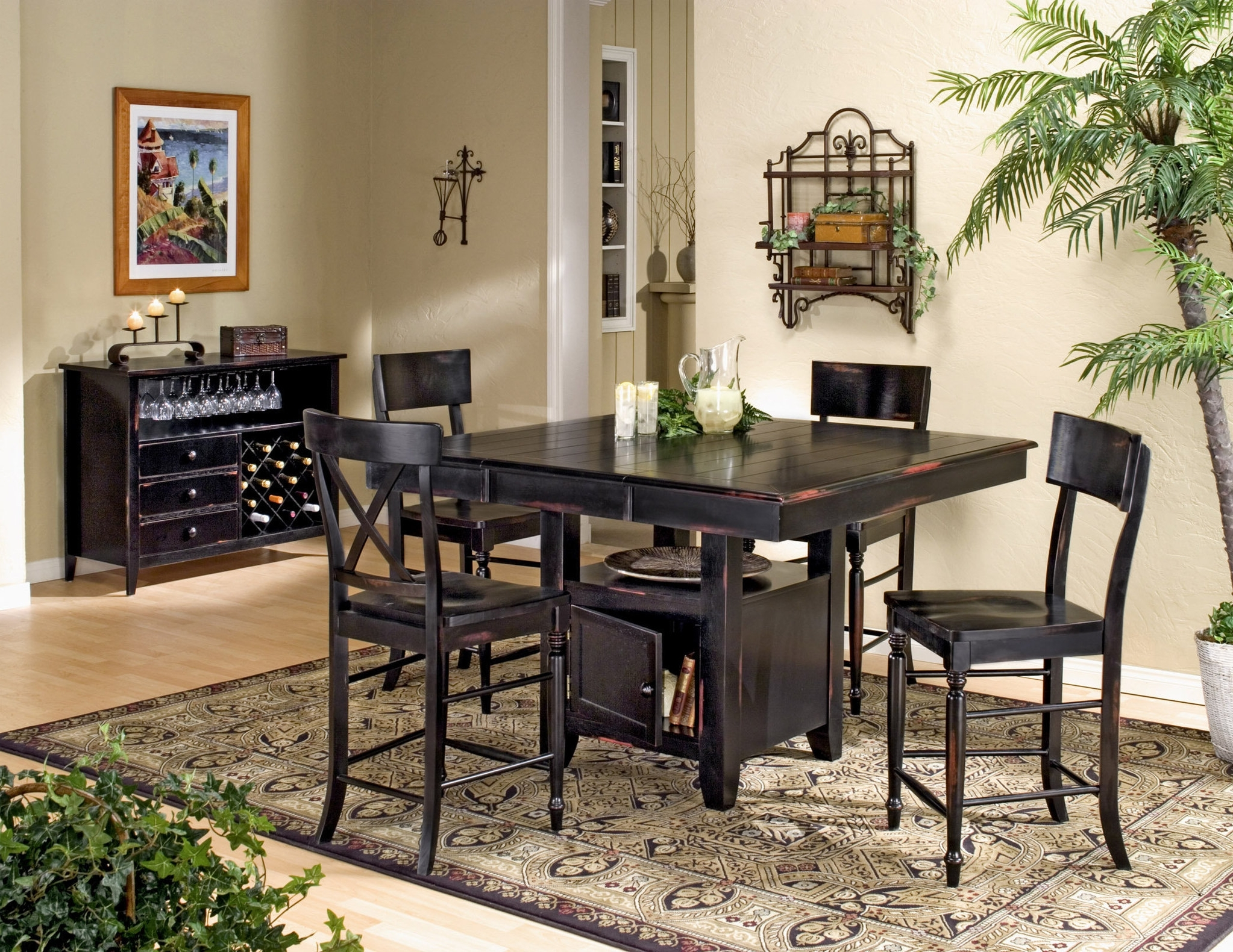 Trendy Dark Wood Square Pub Table – Contemporary Counter Height Gathering Pertaining To Dark Wood Square Dining Tables (View 11 of 25)