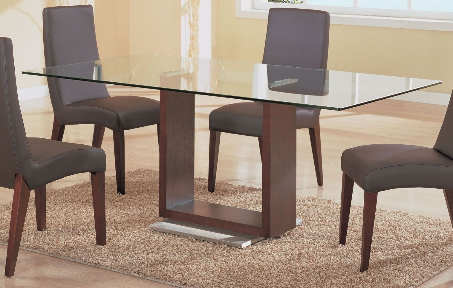 Trendy Dining Room Simple Rectangle Glass Top Tables With Wood Base Table With Regard To Wood Glass Dining Tables (View 15 of 25)