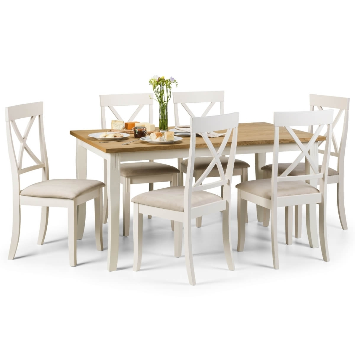 Trendy Dining Set – Davenport Dining Table And 6 Chairs In Ivory Oak Dav005 Inside Oak Dining Tables With 6 Chairs (View 18 of 25)
