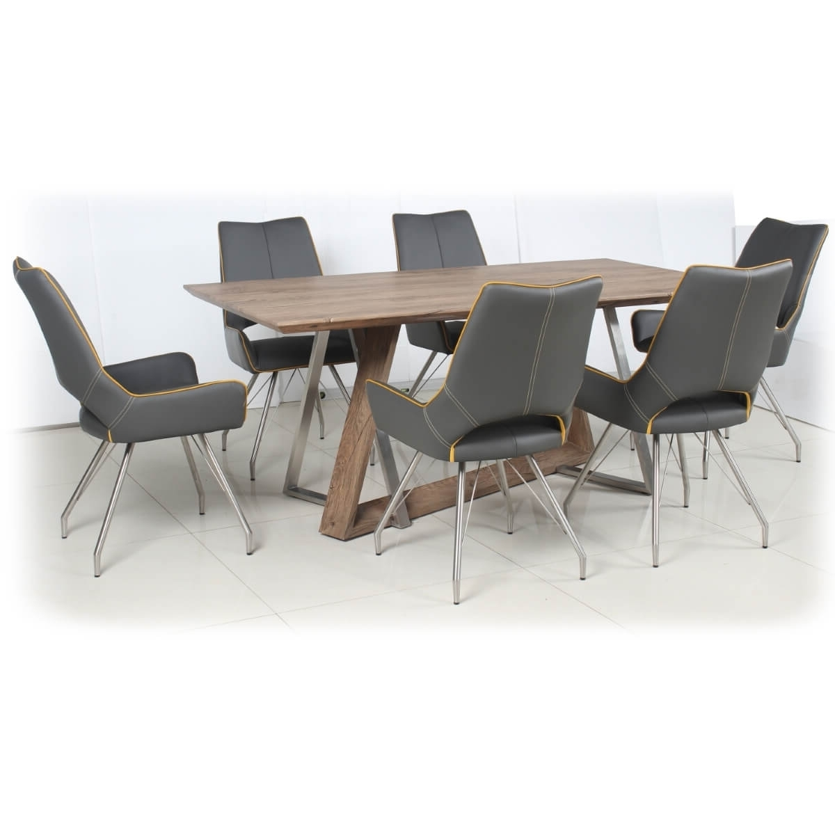 Trendy Dining Set – Industrial Style Wood Dining Table And 6 Grey Dining Pertaining To Industrial Style Dining Tables (View 25 of 25)