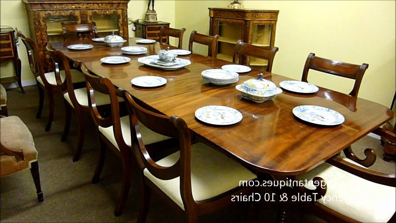 Trendy Dining Table And 10 Chairs In Antique Regency Mahogany Dining Table & 10 Chairs (03181B) (View 21 of 25)