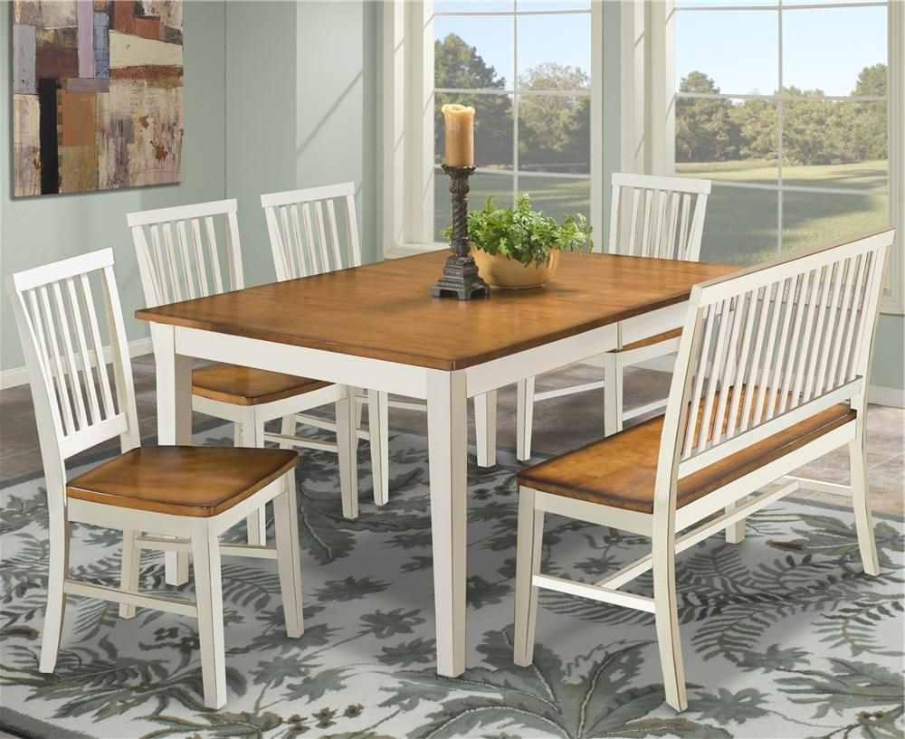 Trendy Dining Table With Slat Back Bench & Slat Back Side Chairs Within Dining Tables Bench Seat With Back (View 25 of 25)