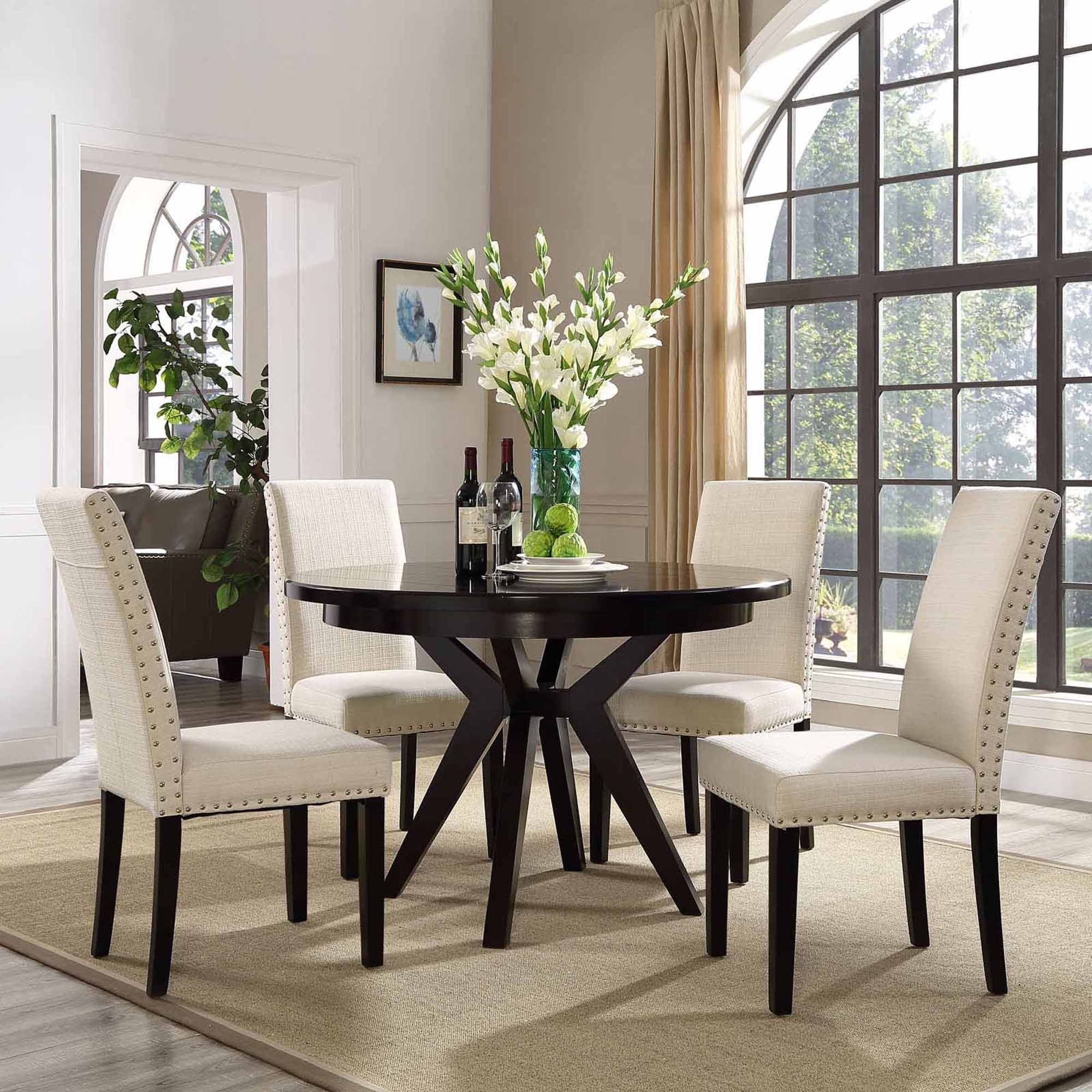 Trendy Dining Tables And Fabric Chairs In Modway Parcel Upholstered Dining Side Chair, Multiple Colors (View 11 of 25)