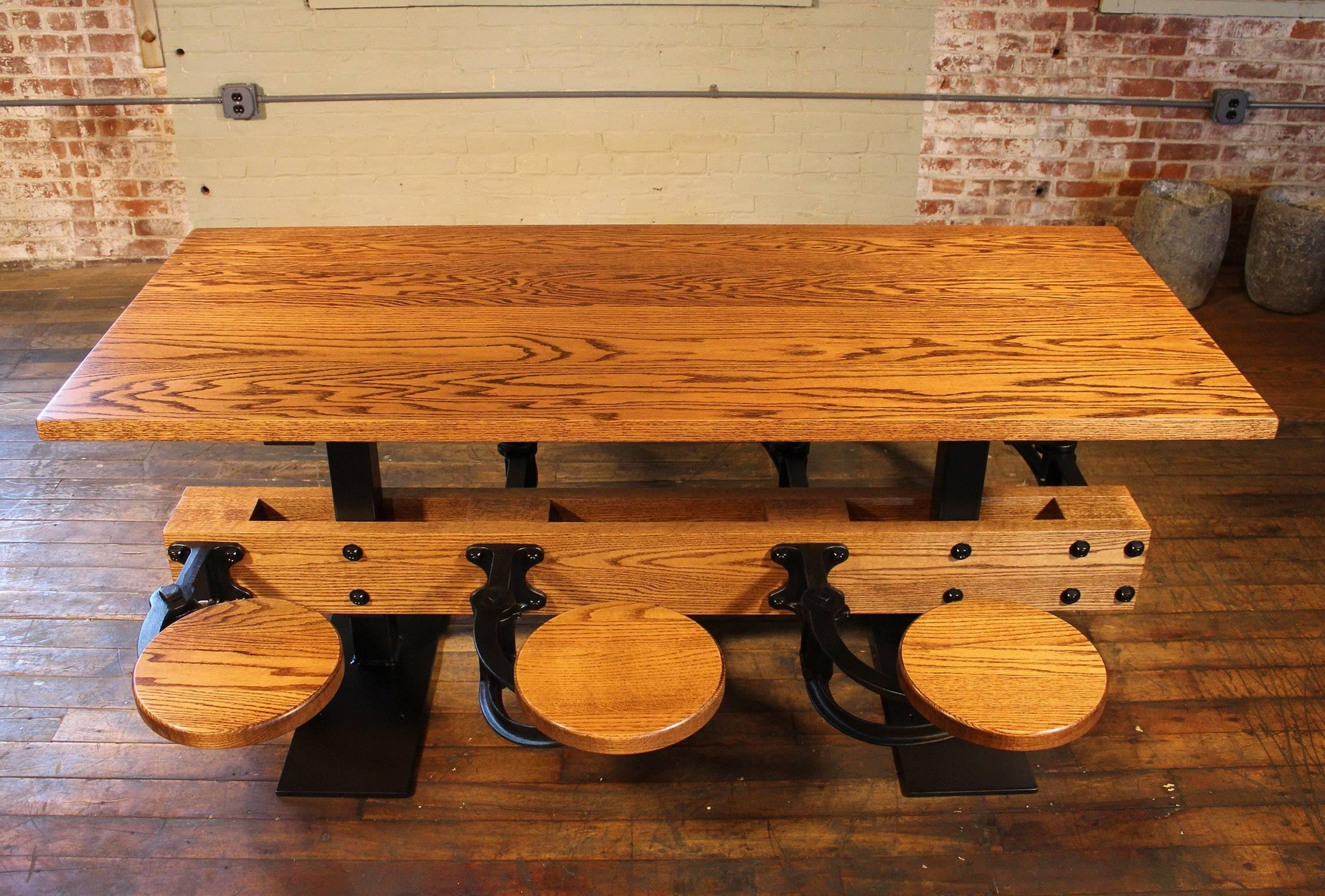 Trendy Dining Tables With Attached Stools Intended For Oak Cafe Style Dining Table With Attached Swing Out Seats For Sale (View 7 of 25)