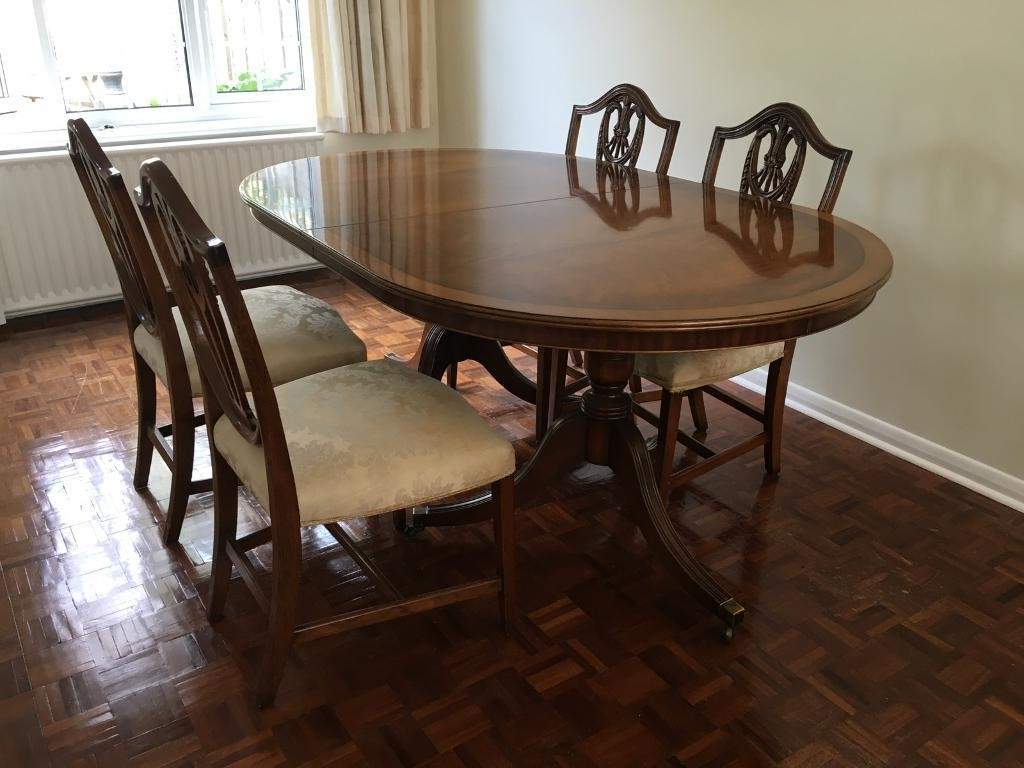 Trendy Extendable Mahogany Dining Table Set Sits (View 14 of 25)
