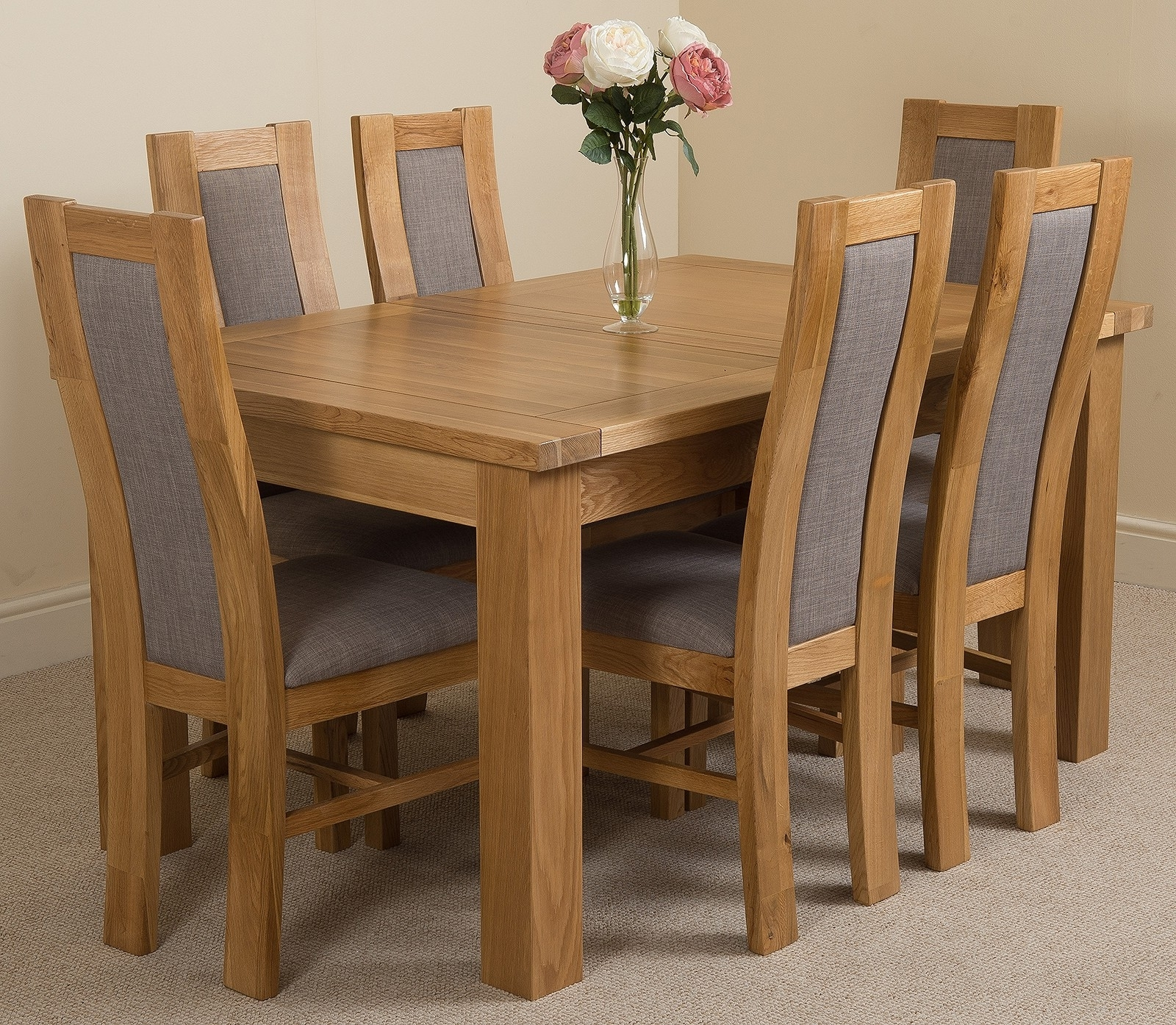 Trendy Extendable Oak Dining Tables And Chairs With Regard To Seattle Dining Set With 6 Stanford Chairs (View 5 of 25)