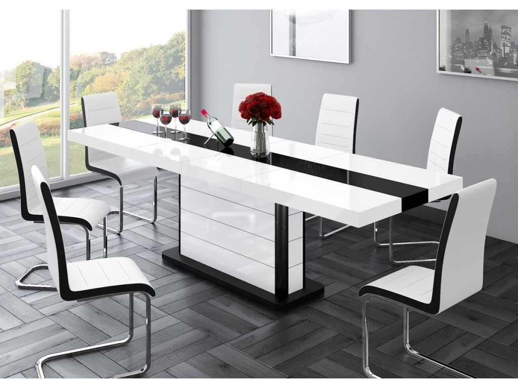 Trendy Extending White Gloss Dining Tables Pertaining To Buy Cruz High Gloss Black & White Extendable Dining Table (View 20 of 25)