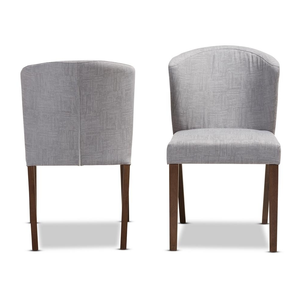 Trendy Fabric Dining Chairs For Baxton Studio Cassie Light Grey/walnut Brown Fabric Dining Chair (Set Of 2) (View 18 of 25)