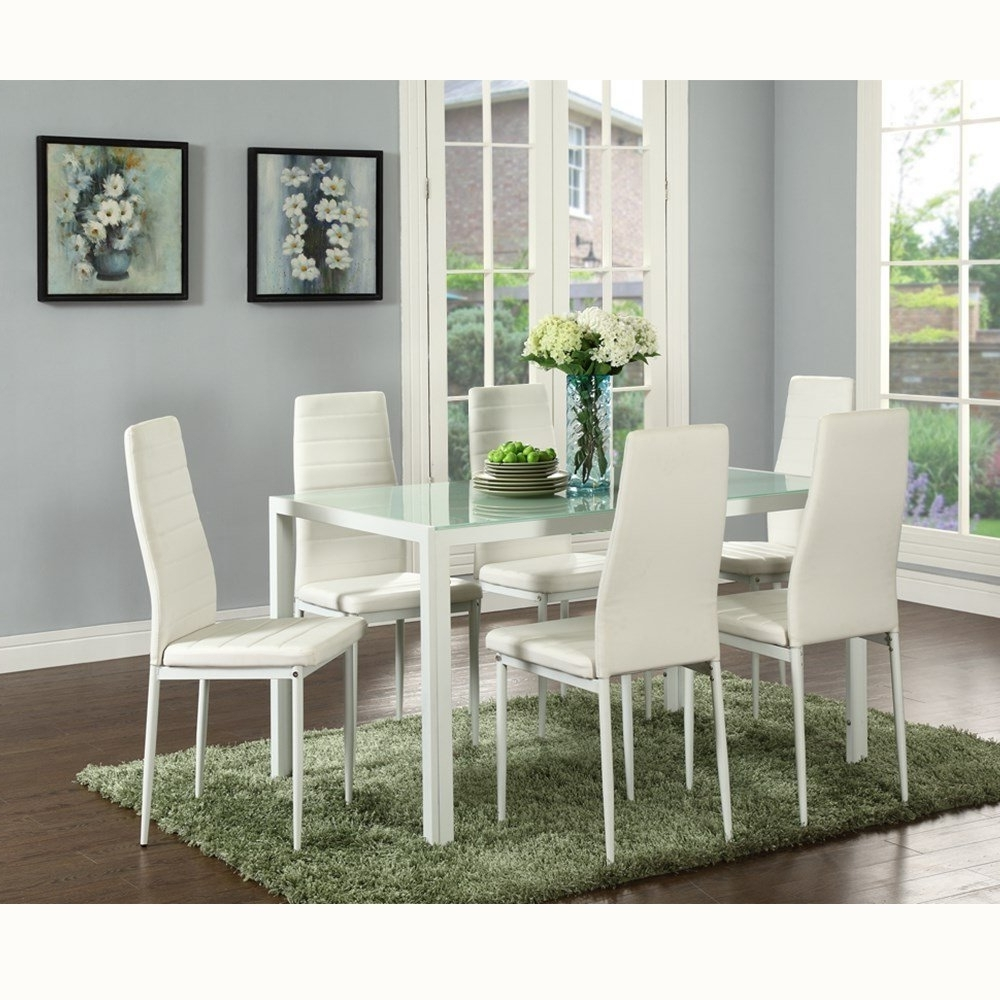 Trendy Glass Dining Tables Sets Throughout 7 Piece Dining Table Set 6 Chairs Glass Metal Kitchen Room Breakfast (View 19 of 25)
