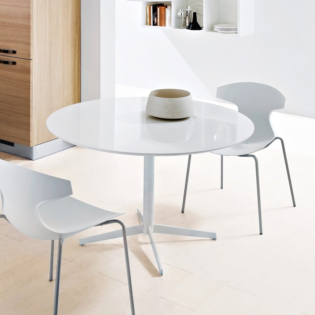 Trendy Glass Dining Tables White Chairs Regarding Jasper Round Dining Table White White Glass Dining Tables Modern (View 22 of 25)