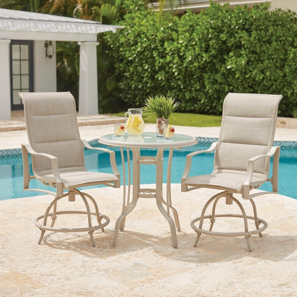 Trendy Hampton Bay Statesville Shell 3 Piece Outdoor Balcony Height Dining For Market 7 Piece Counter Sets (View 23 of 25)