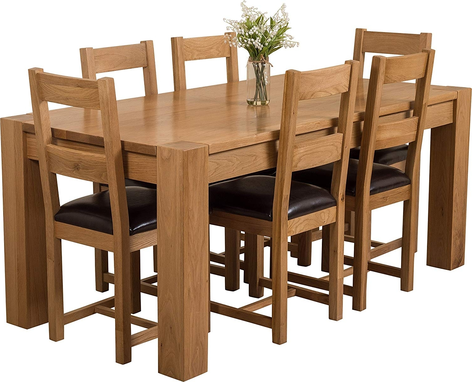 Trendy Hermosa Kensington Dining Table With 6 Chairs With Clear Lacquer In Oak Dining Tables With 6 Chairs (View 19 of 25)
