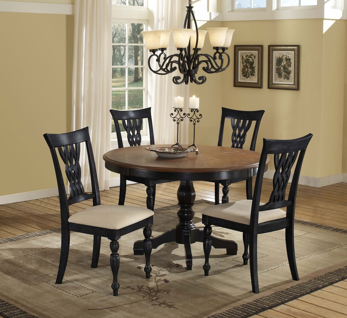 Trendy Hillsdale Embassy Round Pedestal Dining Table – Rubbed Black For Dark Round Dining Tables (View 24 of 25)
