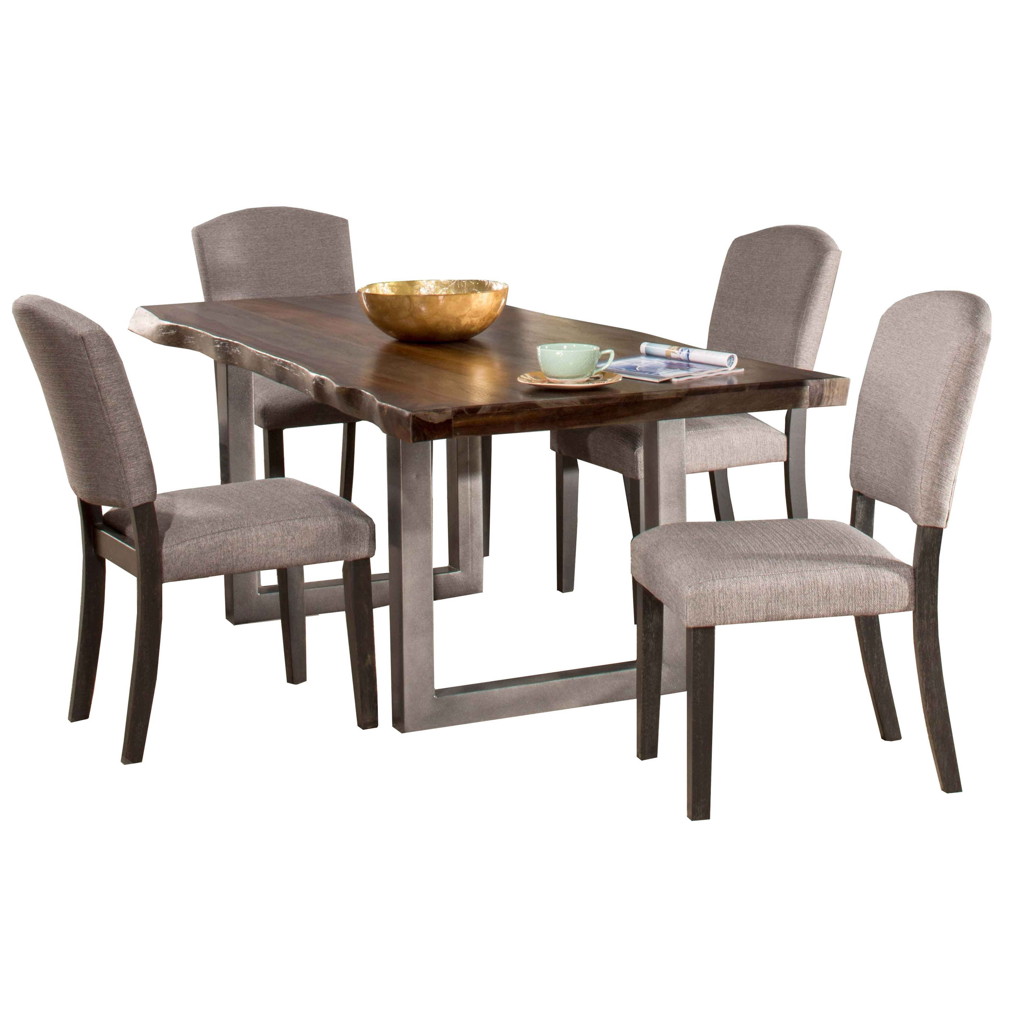 Trendy Hillsdale Furniture Emerson Grey Sheesham 5 Piece Rectangular Dining Within Caden 6 Piece Rectangle Dining Sets (View 24 of 25)