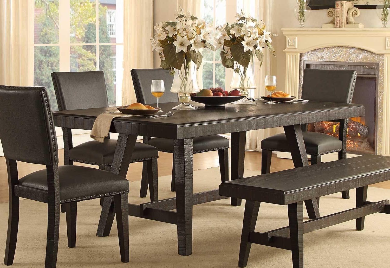 Trendy Homelegance Fenwick Rectangular Dining Table – Dark Gray 5480 76 Inside Dark Dining Tables (View 8 of 25)