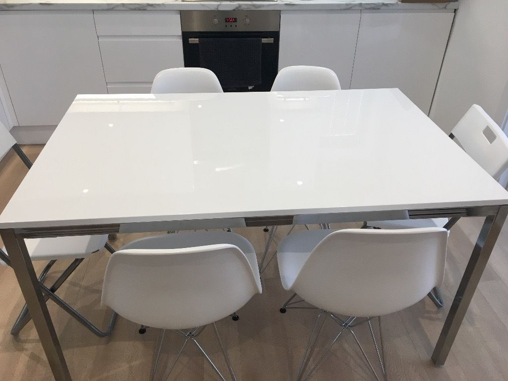 Trendy Ikea Torsby Dining Table – High Gloss White & Chrome – Great In Shiny White Dining Tables (View 23 of 25)