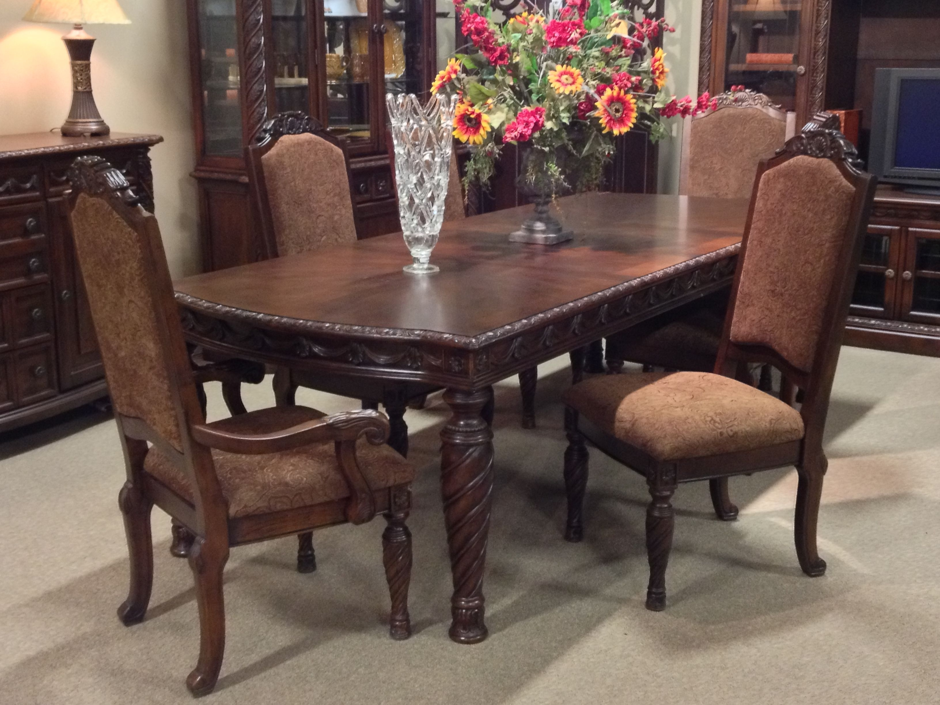 Trendy Laurent 7 Piece Rectangle Dining Sets With Wood Chairs In North Shore 7 Piece #dining Room Set At Ashley #furniture In (View 8 of 25)