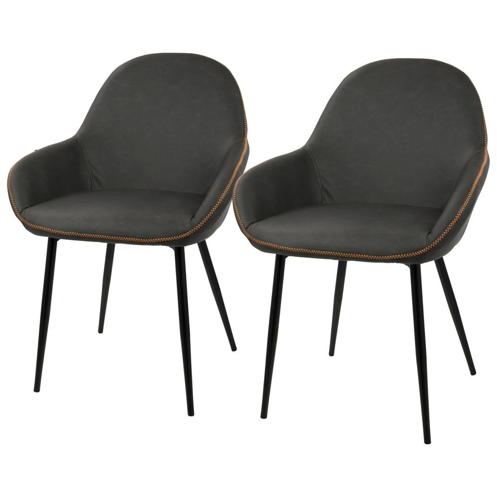 Trendy Lumisource Black And Grey Clubhouse Vintage Faux Leather Dining In Leather Dining Chairs (View 14 of 25)
