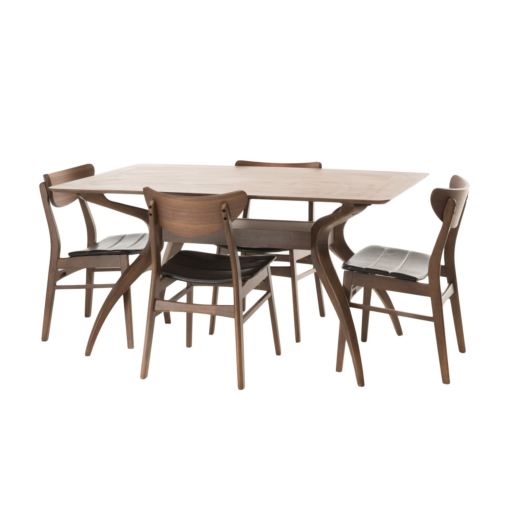 Trendy Macie 5 Piece Round Dining Sets Inside Anise 5 Piece Dining Set – Natural Walnut/dark Brown – Christopher (View 23 of 25)
